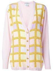 Celine Vintage Chain Motif Cardigan Pink And Purple