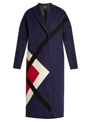 Msgm Geometric Paneled Wool Blend Coat Navy Multi