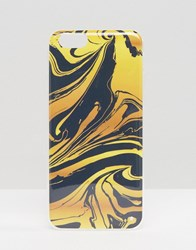 Signature Iphone 6 Case In Ink Marble Print Blue Gold