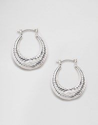 Ny Lon Nylon Chunky Etched Hoop Earrings Silver