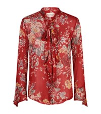 Denim And Supply Ralph Lauren Tie Neck Floral Blouse Female Red