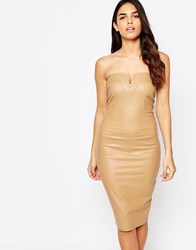 Ax Paris Bodycon Bandeau Dress In Wet Look With Notch Detail Camel Beige