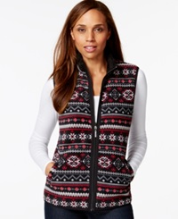 Karen Scott Sport Printed Faux Fur Trim Vest Only At Macy's New Red Amore