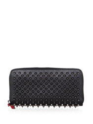 Christian Louboutin Panettone Spiked Leather Zip Around Wallet Black