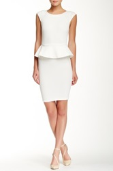 Alice Olivia Victoria Short Sleeve Peplum Dress White