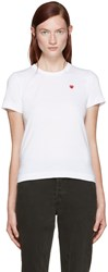 Comme Des Garcons White Small Heart Patch T Shirt