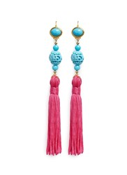 Kenneth Jay Lane Carved Bead Tassel Drop Earrings Pink Multi Colour
