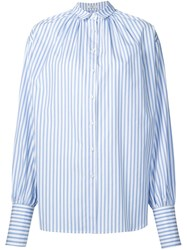 Tome Striped Oversized Gathered Shirt Blue