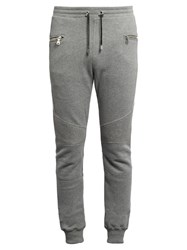 Balmain Biker Ribbed Panel Jersey Track Pants Grey