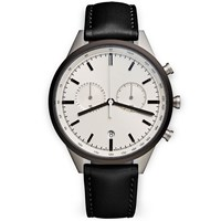 Uniform Wares C41 Grey Chronograph Watch Black Nappa Leather Strap