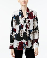 Charter Club Floral Print Tie Neck Blouse Only At Macy's Red Garnet