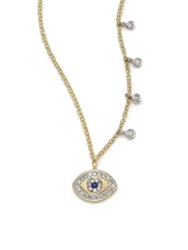Meira T Diamond Blue Sapphire And 14K Yellow Gold Evil Eye Pendant Necklace Gold Blue