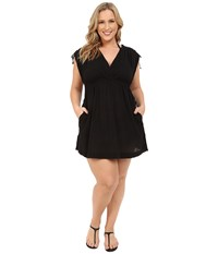 Lauren Ralph Lauren Plus Size Crushed Cotton Farrah Dress Cover Up Black Women's Swimwear