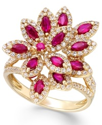 Effy Collection Ruby Royale By Effy Ruby 1 3 8 Ct. T.W. And Diamond 5 8 Ct. T.W. Ring In 14K Gold Yellow Gold