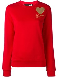 Love Moschino Sequined Heart Patch Sweatshirt Red