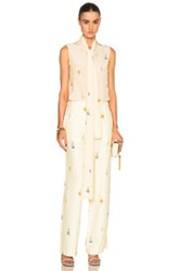 Victoria Beckham Crepe De Chine Earring Print Sleeveless Neck Tie Blouse In Yellow