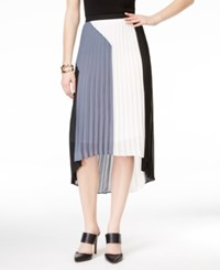 Ny Collection Colorblocked Pleated Hi Low Skirt