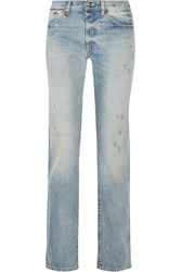 R 13 R13 Classic Distressed Mid Rise Boyfriend Jeans Light Denim