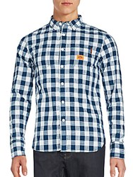 Superdry Long Sleeve Checkered Shirt Blue