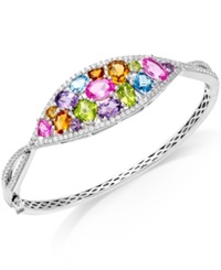 Macy's Multi Stone 7 1 3 Ct.T.W. Oval Bangle Bracelet In Sterling Silver