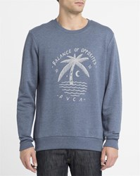 Rvca Blue Palm Moon Round Neck Sweatshirt