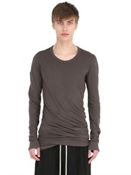 Rick Owens Double Cotton Jersey Long Sleeve T Shirt