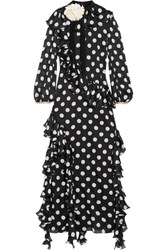 Gucci Ruffled Printed Silk Charmeuse Gown Black