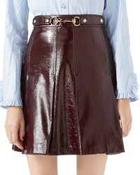 Gucci Light Patent Leather Pleated Skirt Brown