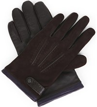 Ted Baker Reggie Suede And Leather Gloves Chocolate