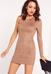 Missguided Faux Suede One Shoulder Bodycon Dress Toffee No