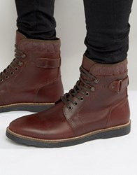 Asos Lace Up Boots With Quilt Detail In Burgundy Leather Burgundy Red