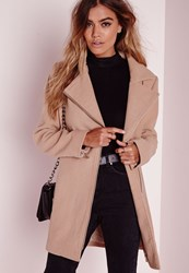 Missguided Petite Faux Wool Biker Coat Camel Beige