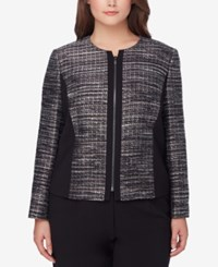 Tahari By Arthur S. Levine Asl Plus Size Metallic Boucle Jacket Black Grey White