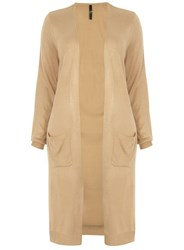 Evans Plus Size Longline Pocket Cardigan Cream