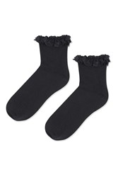 Topshop Lace Trim Rib Ankle Socks Black