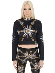 Fausto Puglisi Cropped Chains Printed Jersey Sweatshirt
