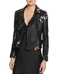 Blank Nyc Blanknyc Studded Embroidered Faux Leather Motorcycle Jacket 100 Bloomingdale's Exclusive Black