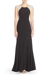 Xscape Evenings Petite Women's Matte Jersey And Lace A Line Gown Black Gold