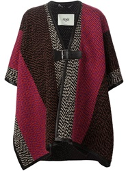 Fendi Colour Bock Cape Poncho Black