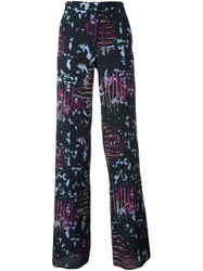 Versace Intarsia Knit Wide Trousers Multicolour