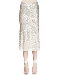 Herve Leger Sequined Bias Cut Midi Skirt Beige