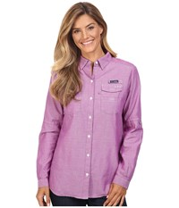 Columbia Super Bonehead Ii L S Shirt Bright Plum Oxford Women's Long Sleeve Button Up Purple
