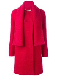 Blugirl Double Breasted Coat Pink And Purple