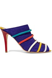 Malone Souliers Margot Leather Trimmed Suede Sandals Purple