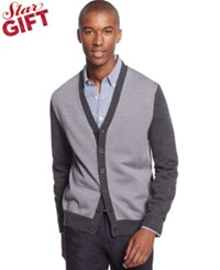 Club Room Merino Wool Colorblocked Cardigan Only At Macy's Ash Grey Heather