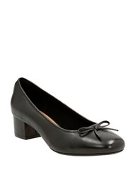 Clarks Cala Lucky Block Heel Pumps Black