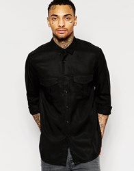 Asos Military Shirt In Black Drape Fabric With Long Sleeves Black
