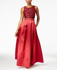Betsy And Adam Lace Illusion Popover A Line Gown Ruby