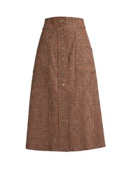 Red Valentino Eyelet Embellished Wool Tweed A Line Skirt Red Multi