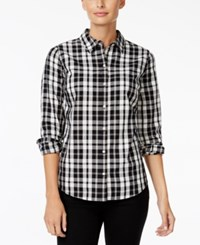 Charter Club Petite Plaid Shirt Only At Macy's Black And White Combo